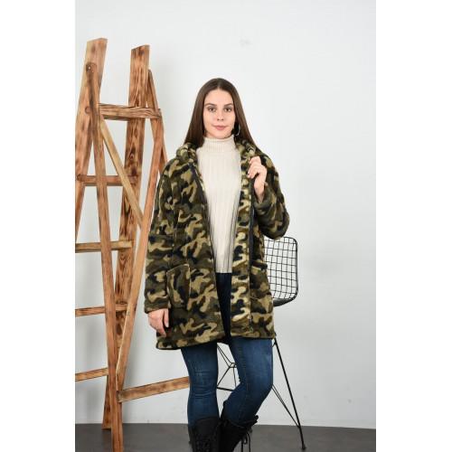 Kapşonlu Kamuflaj Peluş Ceket