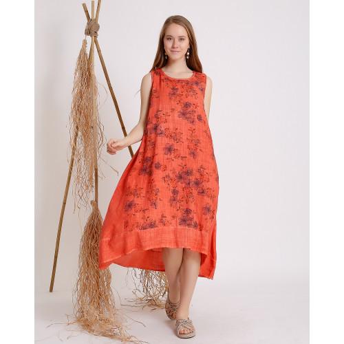 Çiçek Desenli Kolsuz Kiremit Rengi Elbise