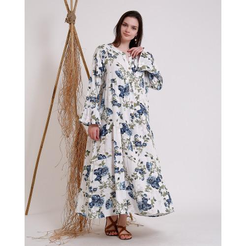 Gül Desenli Uzun Kollu Elbise - Beyaz