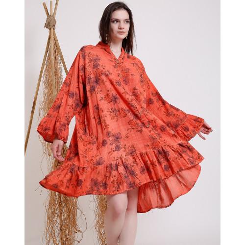 Gül Desenli Uzun Kollu Kiremit Rengi Midi Elbise