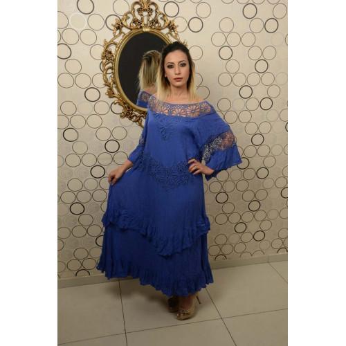 Güpürlü Vual Gece Mavisi Elbise