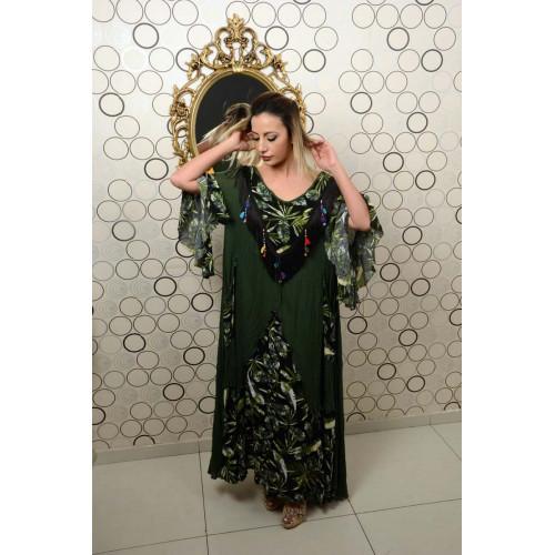 Haki Püsküllü Etnik Desen Elbise