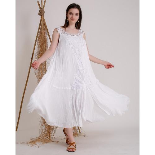 Kolsuz Dantel Detaylı Beyaz Uzun Elbise