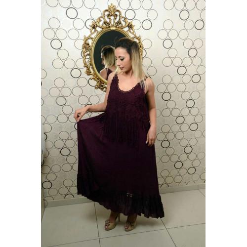 Kolsuz Güpür Dantelli Saçaklı Mor Elbise