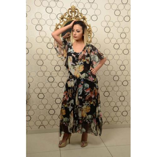 İtalyan Çiçek Desenli Yarım Kollu İpek Elbise