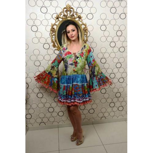 İtalyan Ponponlu Egzotik Desenli Mini Elbise