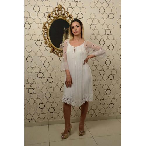 İtalyan Yaka Bağcıklı Beyaz İpek Elbise
