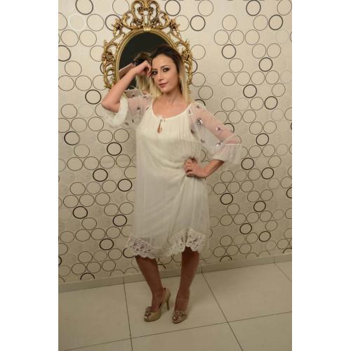 İtalyan Yaka Bağcıklı Krem Rengi İpek Elbise