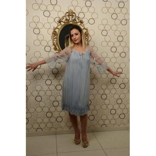 İtalyan Yaka Bağcıklı Mavi İpek Elbise