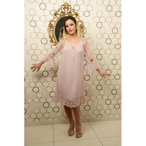 İtalyan Yaka Bağcıklı Pudra İpek Elbise